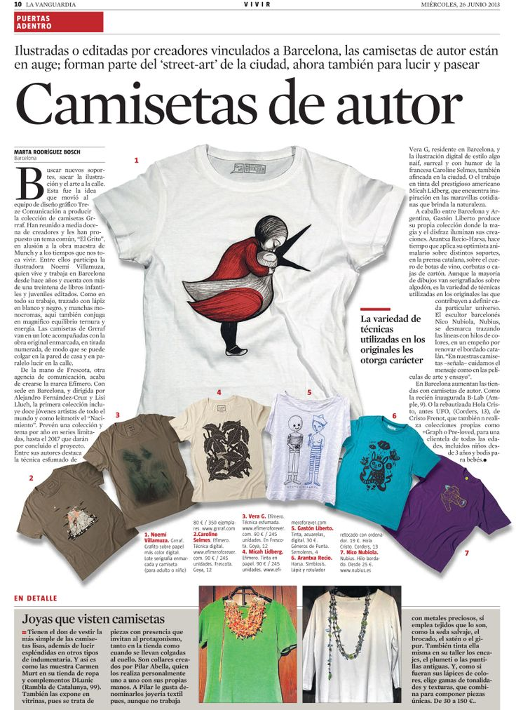 Our T-shirts made their way into the newspaper! #vistetedearte #gastonliberto #generosdepunta #camisetasdeautor #madeinbarcelona #localshop