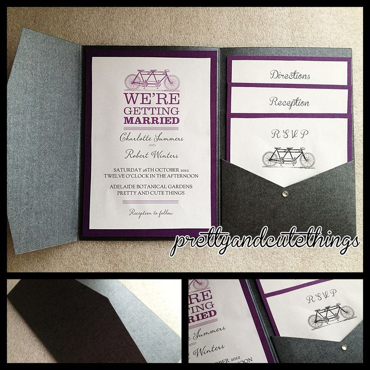 Black Metallic Shimmer Wedding Invitations DIY Pocket Envelopes Folder Classic
