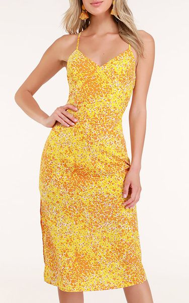 abc670997c Mai Mustard Yellow Floral Print Lace-Up Midi Dress | Women's Dresses ...