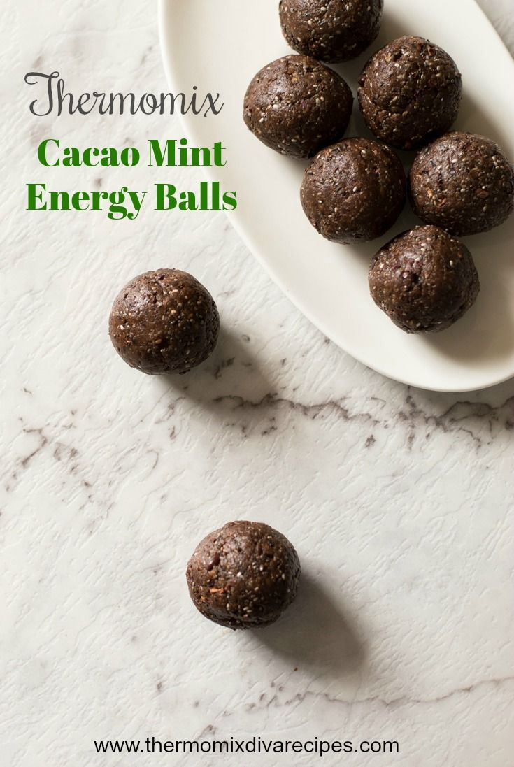Thermomix Cacao Mint Energy Balls - made with nourishing ingredients and are great to keep in the fridge for a standby snack. They are also nut free so great for allergy sufferers.