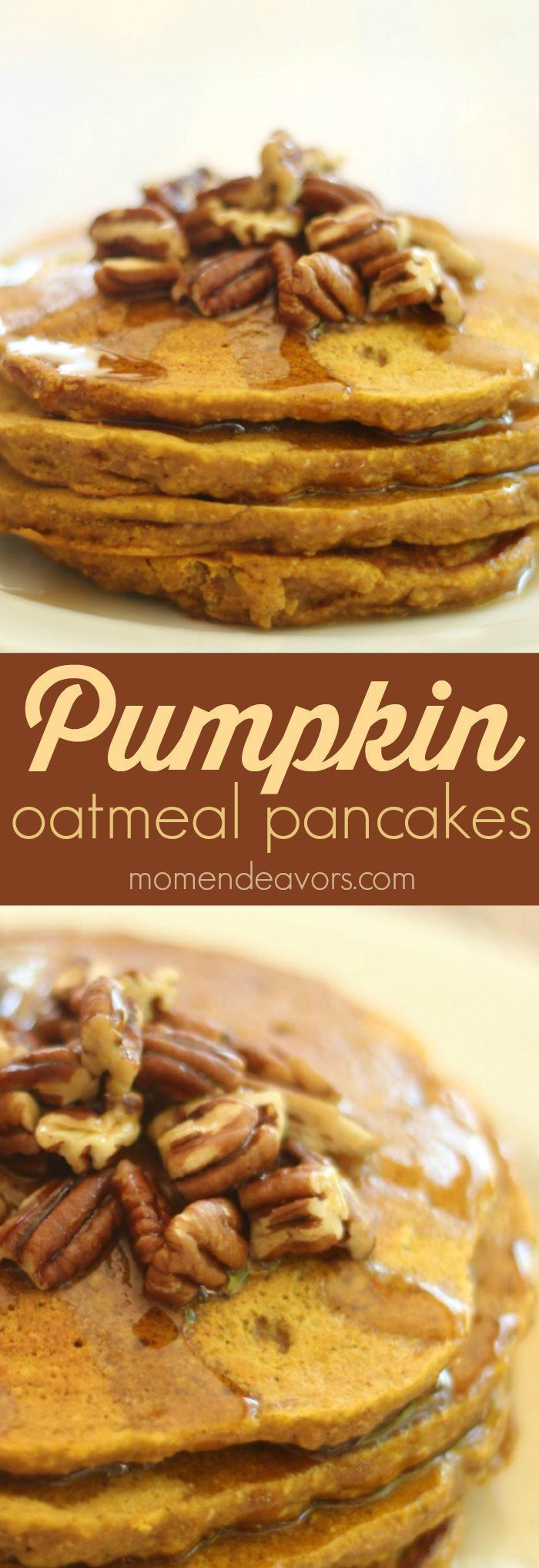 Delicious pumpkin oatmeal pancakes, plus links to 10+ more great fall pumpkin recipes!