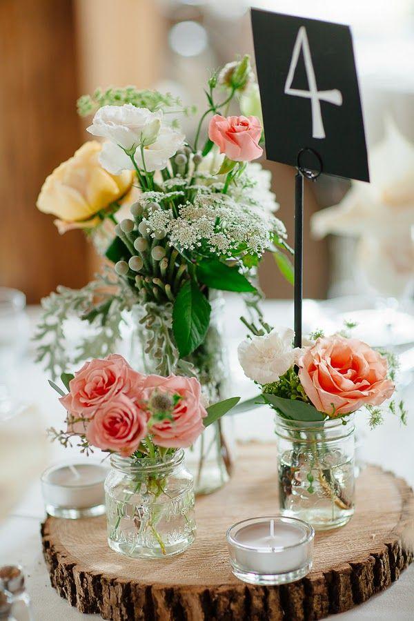 Bonita combinación de flores para un centro para una boda elegante con estilo rústico