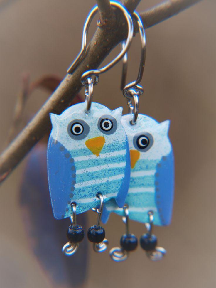 Handpainted stainless steel owls, whimsical owl earrings by #CinkyLinky - $ 21