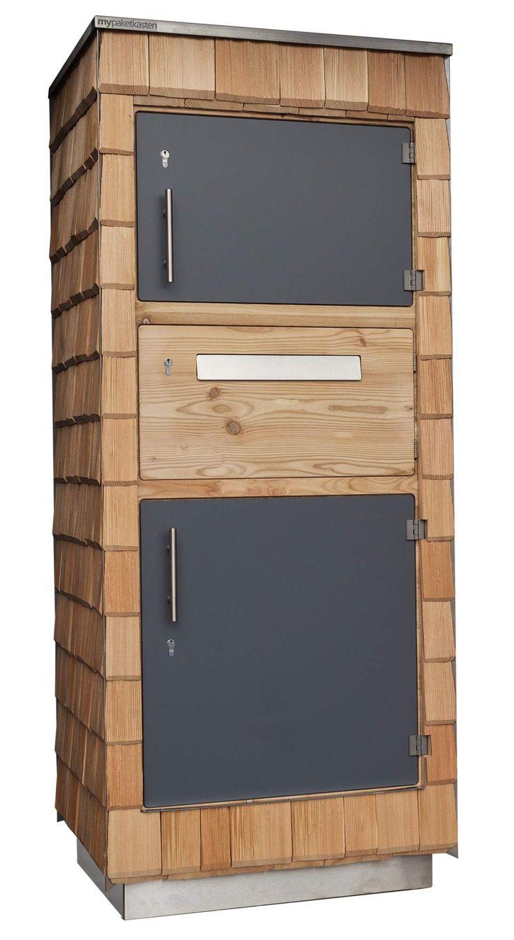 Paketbox aus Holzschindeln. Passt super zu einem modernen Schindelhaus.