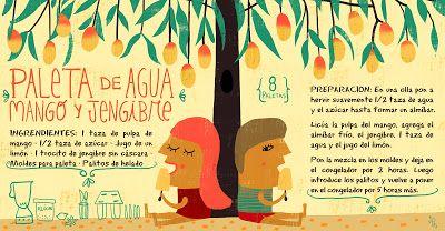 Cositas Ricas Ilustradas por Pati Aguilera: Paleta de Agua: Mango y Jengibre