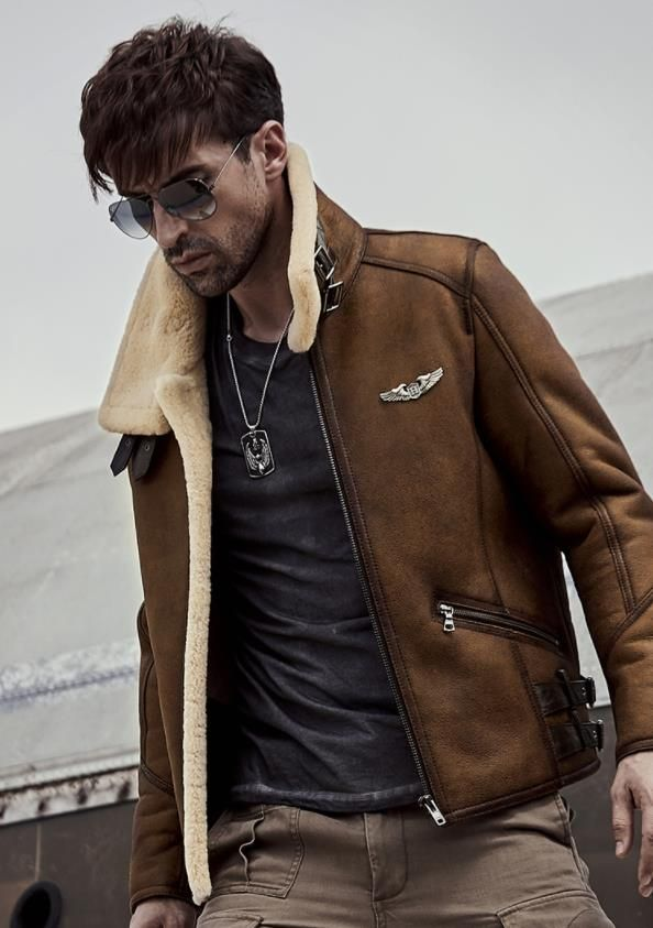Bomber Jacket,Fashion Mens Leather Lapel Fur Collar Coat Flying Tactical Outwear New