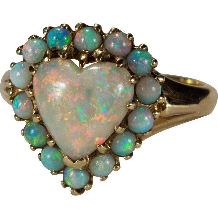 Natural Opal Heart Ring 14k Gold Halo Heart Opal Ring - found at www.rubylane.com #vintagebeginshere