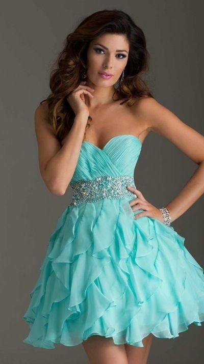 Newest 2014 Sexy Fashion Short Mini Organza Blue Beaded Above ing Dresses for Teens $105.69