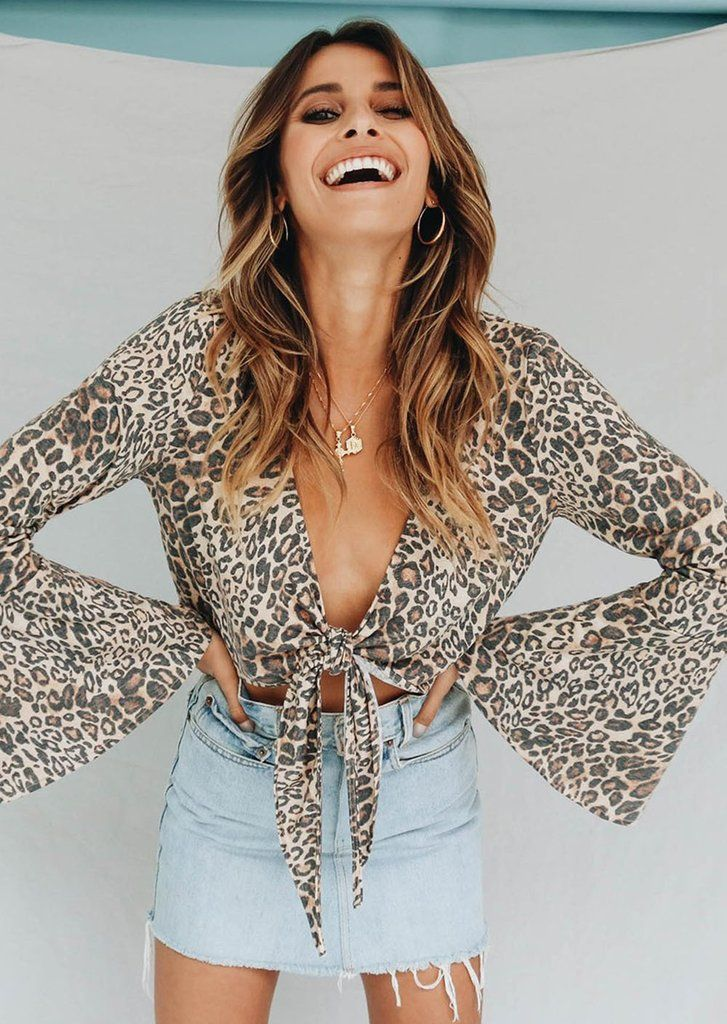 98ae19c9aaf Leopard Print Flared Sleeve Front-Tie Cropped Blouse – Lupsona ...