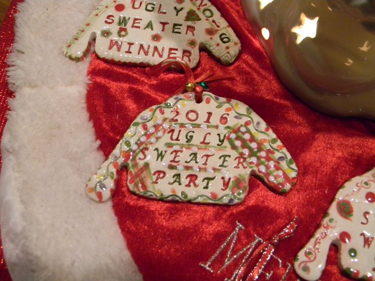 Ugly Sweater Contest  Party Christmas  Ornament  2016  Award for the Awful Sweater Office Christmas party by EnchantdMushroomLand on Etsy