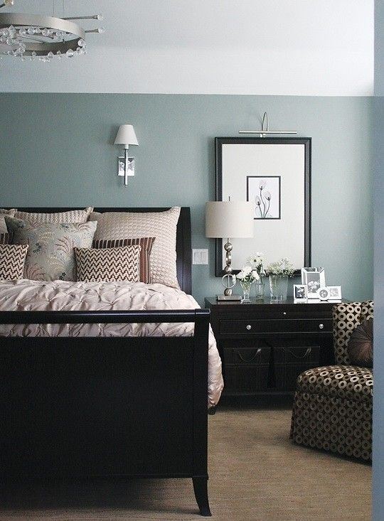 I wish I knew what blue this was.  But either way - good example of blue/green wall with dark furniture and white ceiling.  bedroom blue by kara.   Update: In the end, we went with Sheer Romance by Benjamin Moore for our bedroom..it is a much more traditional blue, but we love it.
