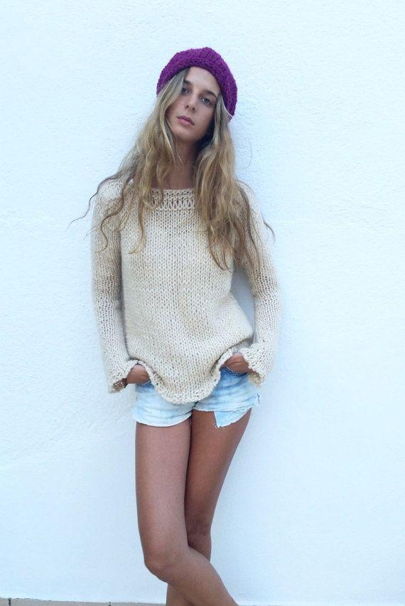 Chunky cream sweater women sweater ivory knit sweater by EstherTg