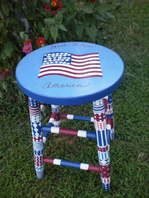 Handpainted Furniture Whimsical Patriotic Colorful Stool