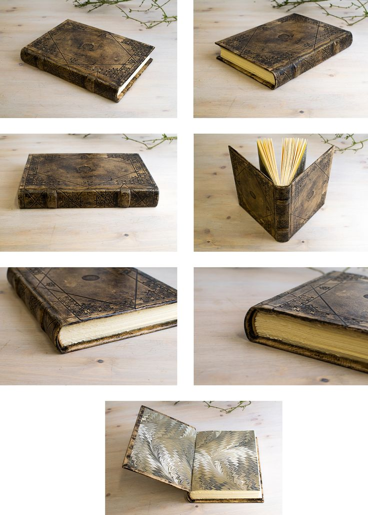Leather Blank Book, hard cover. Handmade blindtooling decoration.   www.elcodicedeleremita.com