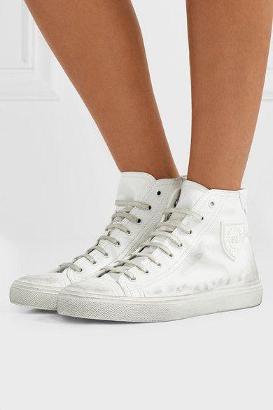 492833df241 Saint Laurent | Bedford logo-appliqued distressed leather high-top sneakers  | NET-A-PORTER.COM