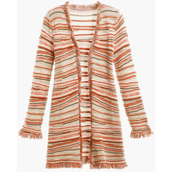 Crochet Fringe Cardigan ($57) ❤ liked on Polyvore featuring tops, cardigans, lightweight cardigan, crochet fringe cardigan, long pink cardigan, petite cardigans and crochet cardigan
