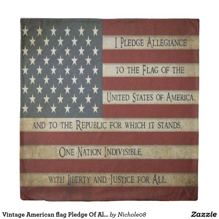 Vintage American flag Pledge Of Allegiance Duvet Cover