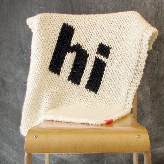 """""""Hi"""" Helvetica Knit Blanket 
