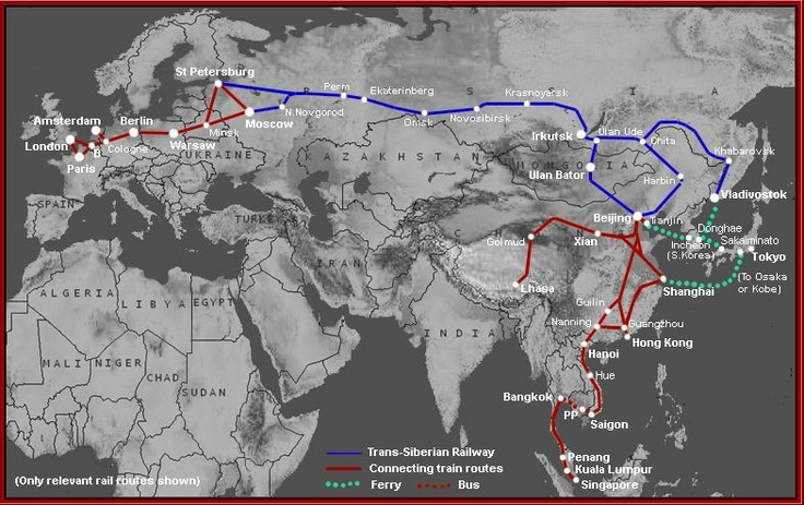Trans-Siberian Railway info. Great info on the route, costs, stops along the way, etc. It sounds like a grand adventure.
