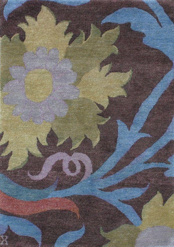 Exceptional New Moon Rug   Trinidad, Aubergine/blue/sage. The Oversized Flower Motif