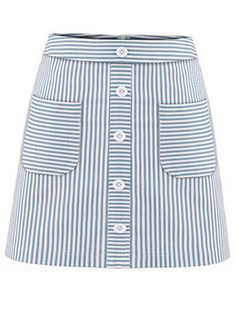 Shop Buttoned Pocket Front Striped A-Line Skirt - Blue online. SheIn offers Buttoned Pocket Front Striped A-Line Skirt - Blue & more to fit your fashionable needs.