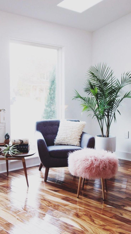 .decor | modern | mid century | gray armchair | plants | window | furry pouf | pink