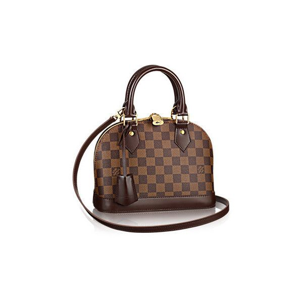 Alma BB Damier Ebene Canvas ❤ liked on Polyvore featuring bags