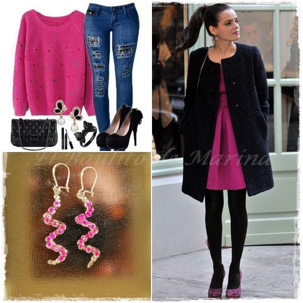 Pendientes Twister Pink: Pendientes de bisutería con un baño de plata y piedrecitas pequeñas color fucsia, están elaborados a mano.