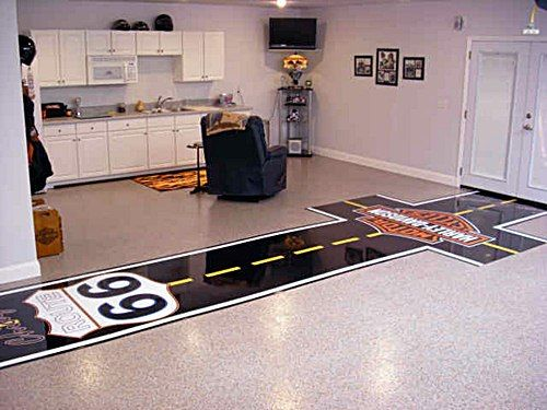 93 best garage aka man cave images on pinterest for Unusual inexpensive flooring ideas