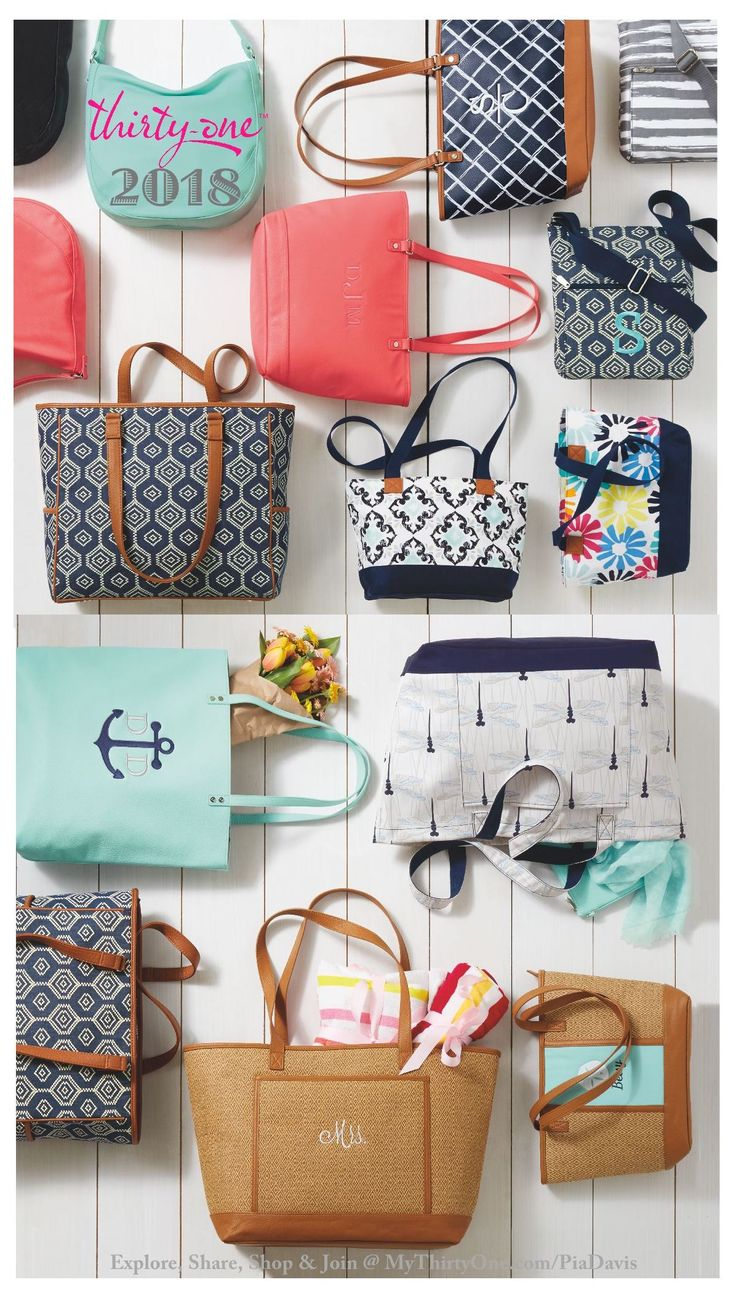 #31 2018 Check out the Shore Enough Tote, Beach-Ready Tote, Sand N' Shore Thermal Tote, Crossbody Organizing Tote, Quick Cinch Thermal, Your Way Display, Cube & Rectangles. STUTIO Thirty-One, Retro Metro Hobo, City Chic Bag, Little Dreamer, Demi Day Bag, Around Town Tote, Cindy Tote, Savvy Sleeve, All About the Benjamins, Rubie Mini, Well Suited Garment Tote, the Wheels-Up Roller, 24/7 Case, Glamour Case, Super Swap-It Pocket, Fold-Up Family Organizer & Hanging Travel Case.