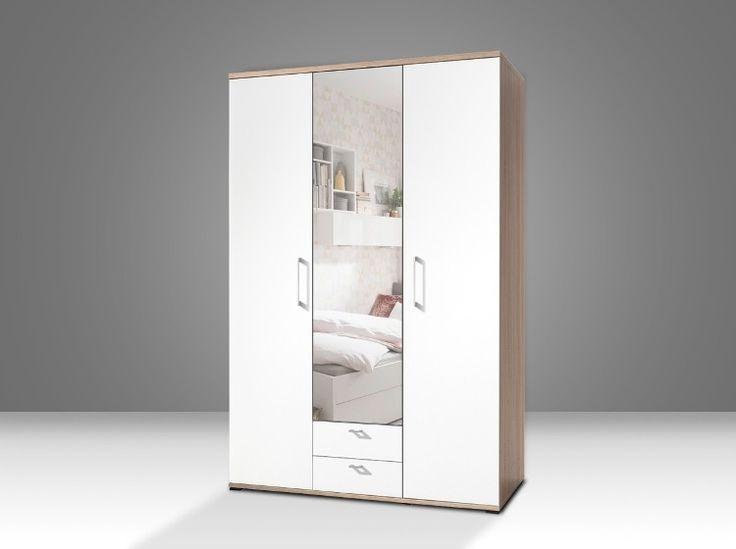 Rio at home Hinged wardrobe (Oak, White &  Mirror) -