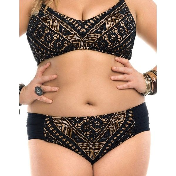 Becca Etc Plus La Boheme Hipster Bikini Bottom (510 SEK) ❤ liked on Polyvore featuring swimwear, bikinis, bikini bottoms, black, plus size, scrunch bottom bikini, boho bikini, plus size bikini bottoms, crochet bikini and plus size swim wear
