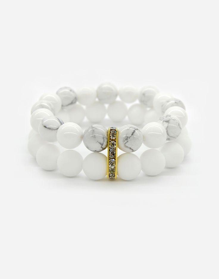 Bracelets / wedding / natural stone / howlit / gold / simple / white / style / fashion / details