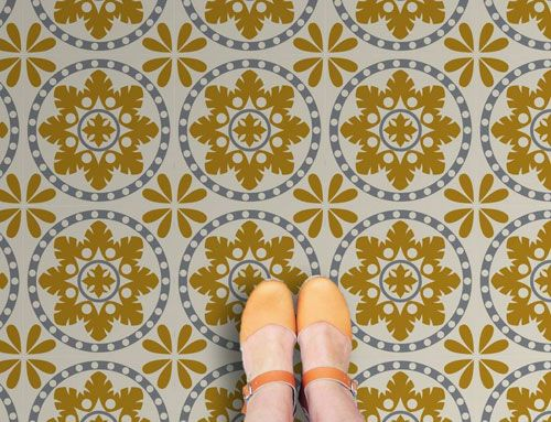 retro vinyl floor tiles by zazous