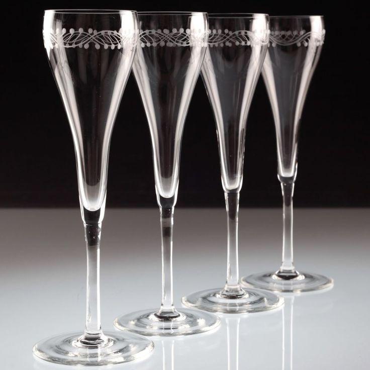 4 edle Vintage Sektgläser Champagnergläser Sektkelche Bordüre Schliff Glas K88