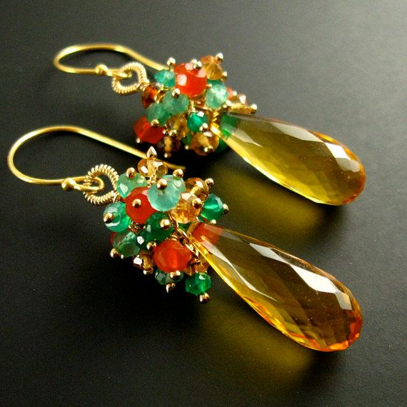 Sunshine Quartz Cluster Earrings - Rays Of Sun  Two long faceted lemon quartz ovals dangle below a generous cluster of sparkly faceted carnelian,
