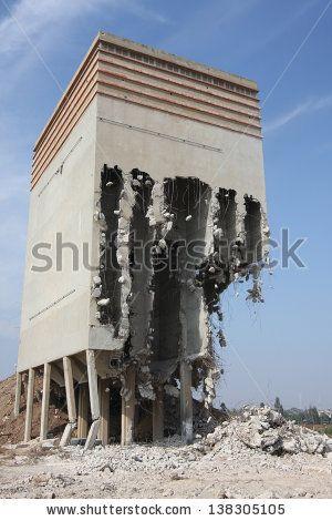 old flour silo building partly demolished
