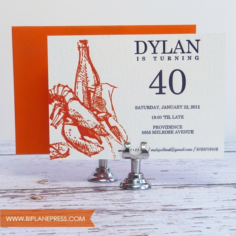 23 best birthday invitations images on pinterest birthday 40th birthday letterpress invitation lobster wine filmwisefo Images