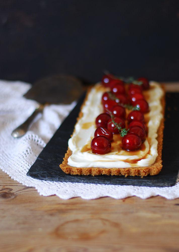 No-bake plum mascarpone tart - Tarta de ciruelas y mascarpone {sin hornear} - Dulces bocados