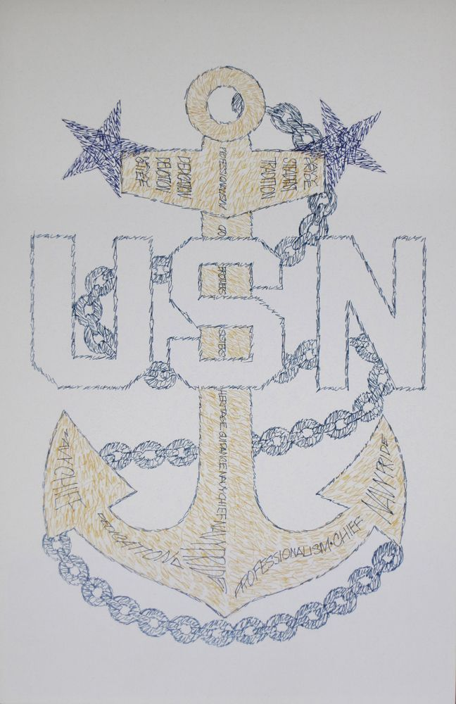 Navy Master Chief Petty Officer CPO E9 Art, Retirement and Promotion Gifts. See http://drawdogs.com/product-category/us-navy-emblems/ for Artist Kline's lithograph drawn from the words Navy Chief, Navy pride, Dedication, Devotion, Steadfast, Guidance, Brothers, Sisters, Heritage, CPO, Tradition and Professionalism. #NavyChief