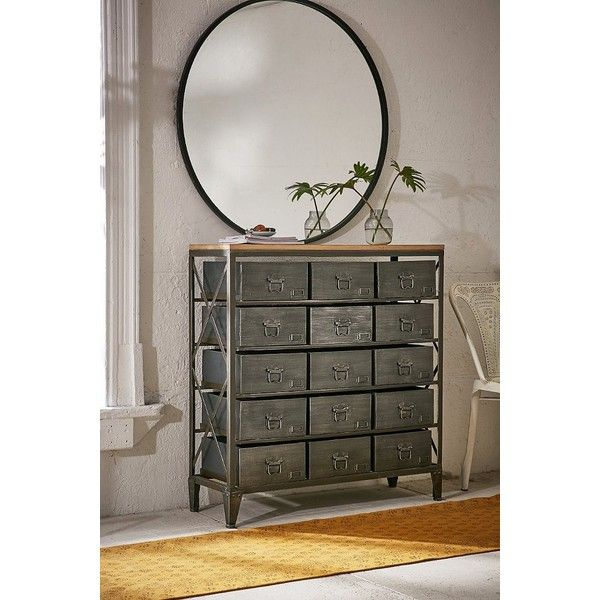 Industrial Storage Dresser ($329) ❤ liked on Polyvore featuring home, furniture, storage & shelves, dressers, storage cabinets, home storage furniture, metal drawer storage cabinet, urban outfitters furniture and drawer storage cabinet