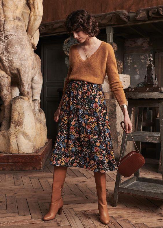 sweater + dark floral skirt + boots