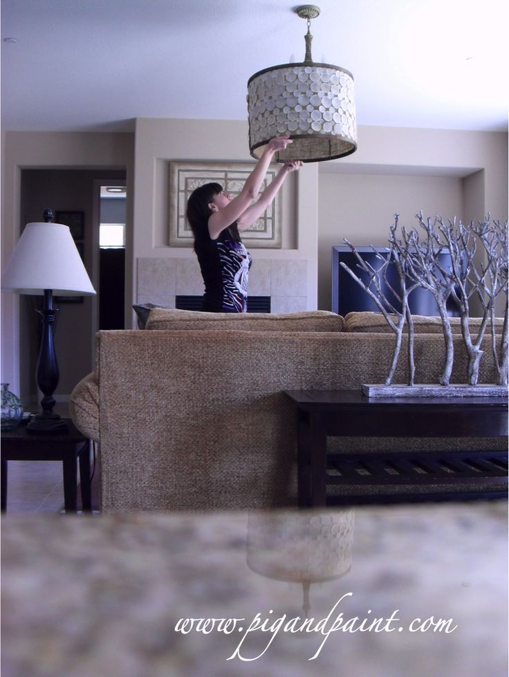 DIY Chandelier  (And cool branch/trees for sofa table)