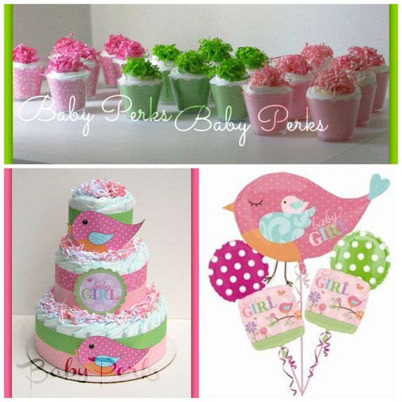 Tweet baby girl baby shower bird diaper cake baby by for Baby shower diaper decoration