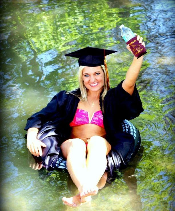 Texas State Senior photo on the river