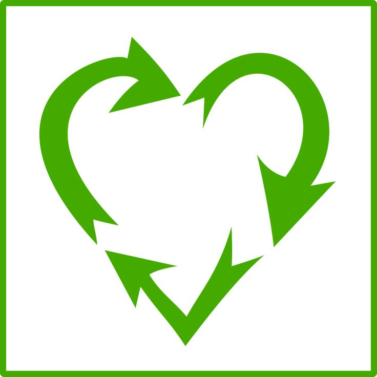 A recycling symbol in the shape of a heart