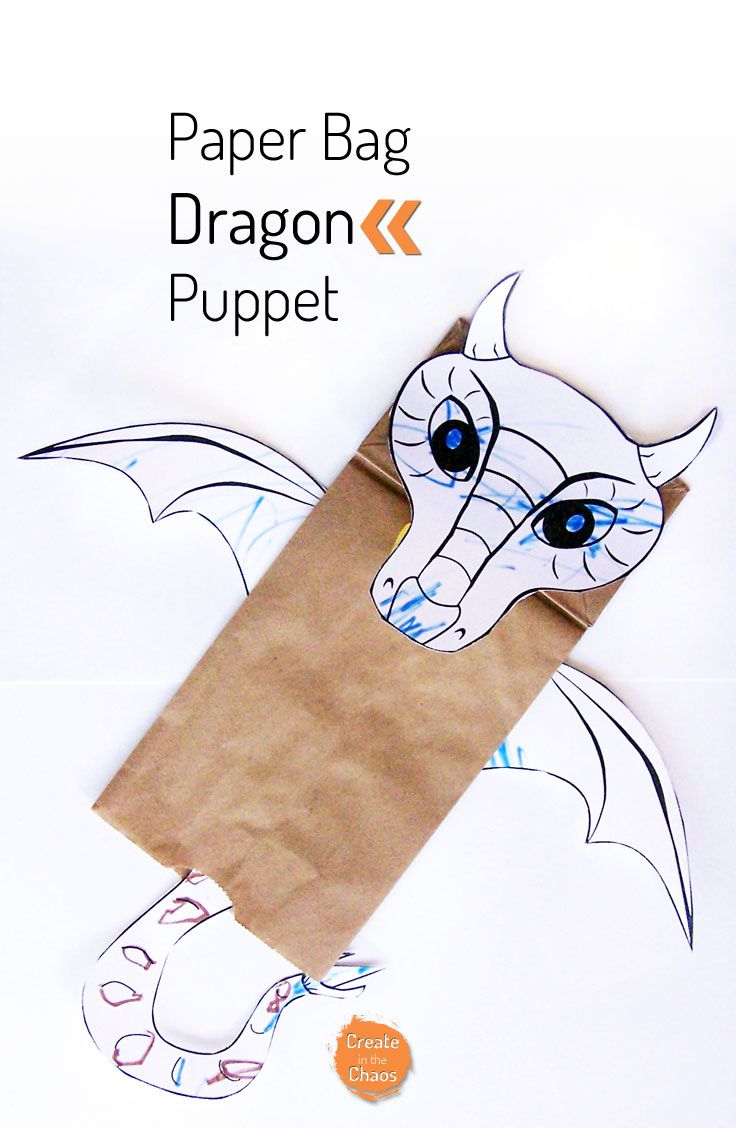 17 Best Dragon Crafts Images On Pinterest Dinosaurs Origami Sword Diagram Http Wwworigamimakecom Easyorigamisword Easy Craft For Kids With Free Printable Template Diy Paper Bag Puppet