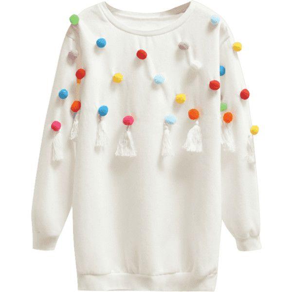 Tassels Pompoms Sweatshirt (125 MYR) ❤ liked on Polyvore featuring tops, hoodies, sweatshirts, tassel top, pom pom sweatshirt, white sweatshirt, pom pom tops and white tassel top