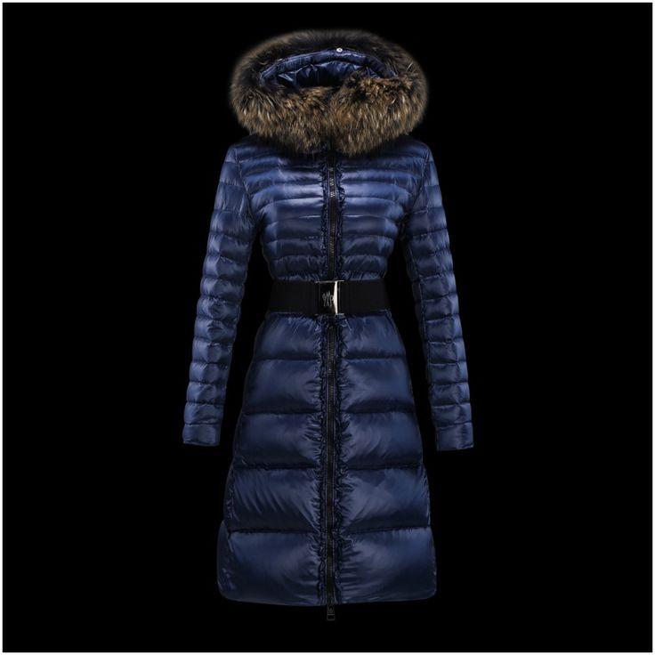 nouveau doudoune moncler manteau femme fourrure manches longues bleu officiel