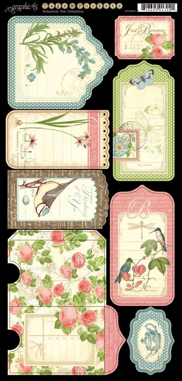 Botanical tea, printable tags labels etiquetas imprimibles etiquettes a imprimer